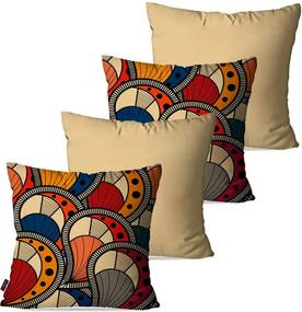 Kit com 4 Almofadas Pump UP Decorativas Bege Abstrato 45x45cm