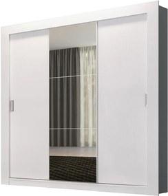 Guarda-Roupa Casal 3 Portas de Correr com espelho Édez PH1708 Herval, Branco Touch
