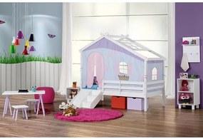 Cama Infantil Prime com Telhado V, Tenda Tijolinho Azul e Kit Escada/escorregador - Casatema