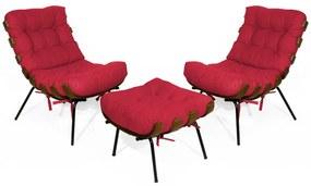 Kit 2 Poltronas Decorativa Costela Com Puff Costela Suede Vermelho