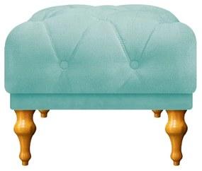 Puff Decorativo Dani Pés Provençais Suede Azul Tiffany - ADJ Decor