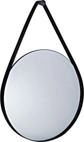 Espelho Redondo Suspenso Decorativo Porchat Com Tira de Metal Preto - Gran Belo