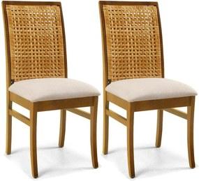 Kit 02 Cadeiras Para Sala de Jantar Cozinha Latina Oregon Linho Rústico Bege - Gran Belo