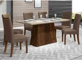 Mesa de Jantar Paris 170cm Rústico Malbec Off White + 6 Cadeiras Sara Veludo Moca
