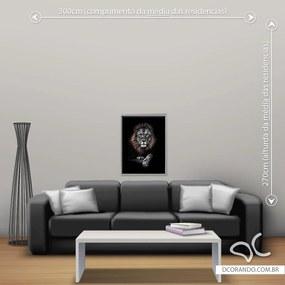Quadro Leão Rei - Pequeno 65cm x 49cm, Tela + Moldura Prata
