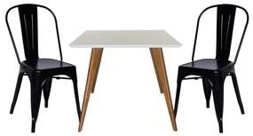 Conjunto Mesa Square Quadrada Branco Fosco 90x90cm + 2 Cadeiras Tolix Preta