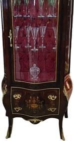 Cristaleira Clássica Marchetada com Apliques em Bronze e Capitonê Vinho - 188x88,5x47,5cm
