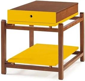 Mesa Lateral Quadrada 1 Gaveta Trio Amarelo