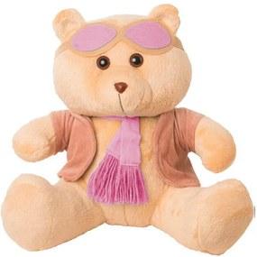 Ursa Soft Pequena Aviadora Casaco Plush Cachecol e Óculos Rosa