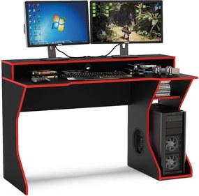 Mesa gamer Fremont para 2 monitores Preto/Vermelho Politorno