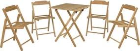 Conjunto Beer Teca -1 Mesa + 4 Cadeiras - Cor Natural - Tramontina