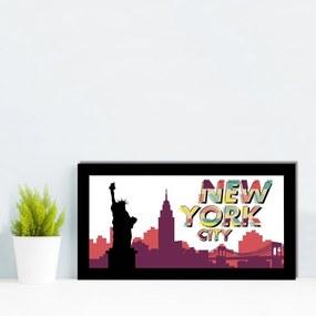 Quadro Alto Relevo Estatua da Liberdade New York Colorido40x75cm
