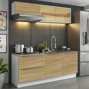 Cozinha Completa Madesa Lux com Armário e Balcão 5 Portas 2 Gavetas Branco/Carvalho Cor:Branco/Carvalho