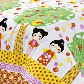 Edredom Solteiro Kokeshi Japonesa Colorido Estampado com 2 peças - Aquarela