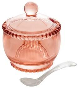 Açucareiro Cristal Com Colher Pearl Rosa 10x8x7cm 28459 Wolff
