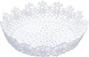 Cesta Redonda de Plástico Branca Crochê Baixa 6345 Lyor