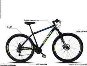 Bicicleta Aro 29 Quadro 17 Aço 21 Marchas Suspensão Freio a Disco Mecânico Preto/Amarelo/Azul - Dropp