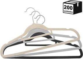 Kit 200 Cabides De Veludo Modelo Tradicional com Suporte 22x41cm