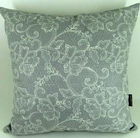 Capa almofada LYON Veludo estampado Renda Cinza 50x50cm