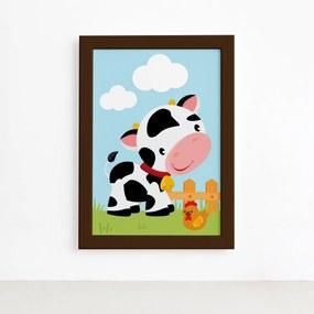 Quadro Animais da Fazenda Vaca Galinha Moldura Marrom 33x43