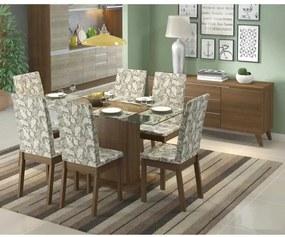 Sala de Jantar Giseli Mesa com 6 Cadeiras e Buffet - Rustic/Floral