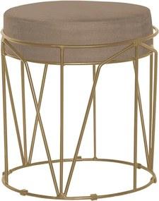 Puff Decorativo Sala de Estar Base Gold Chloe Suede Cappuccino - Gran Belo
