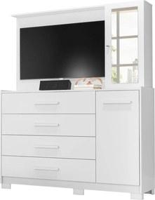 Comoda/Painel De Tv Ilhabela 4 Gavetas Branco Fosco Liso Albatroz