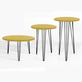 Kit Mesa Lateral + Mesa De Centro + Mesa De Apoio Decorativa Sandy Pés Hairpin Leg Preto Tampo Amarelo