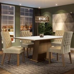 Conjunto Sala de Jantar Madesa Ingrid Mesa Tampo de Madeira com 4 Cadeiras Rustic/Branco/Imperial Cor:Rustic/Branco/Imperial