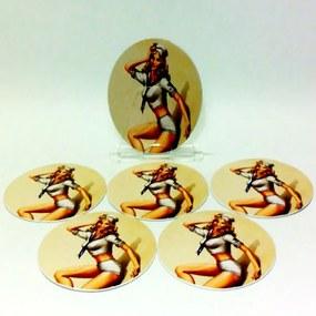 Conjunto com 6 Porta Copos Redondos Pin Up Girl Marinheira