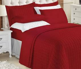 Roupa de Cama Casal Queen Kit Top Line 180 Fios 04 Peças - Vermelho