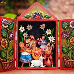 Retablo Peruano Fiesta Del Nascimiento