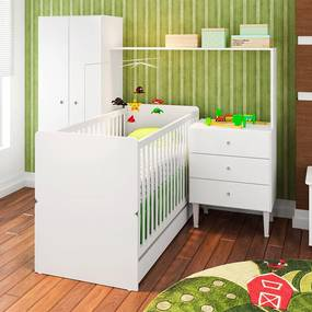 Quarto de Bebê Completo Cj002 Br Branco - Art In Móveis