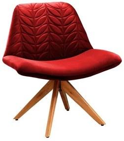Poltrona Decorativa com Base Giratória em Veludo Vermelho Hydrus