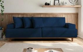 Sofá Bugatti 2,34 Mts Almofadas Soltas Pés Em Madeira Tecido Suede Pluma Azul