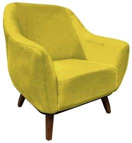 Poltrona Decorativa Jessica Pés de Madeira Suede Amarelo - Sheep Estofados - Amarelo