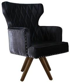 Cadeira de Jantar Estofada Matelassê com Tachas Giratória - Wood Prime PP 35239