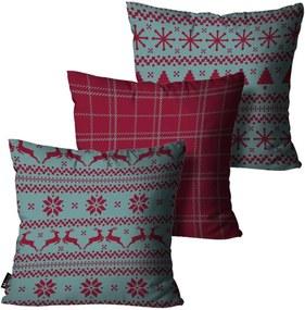 Kit com 3 Almofadas Mdecore de Natal Decorativas Vermelho 35x35