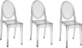 Conjunto com 3 Cadeiras Invisible sem Braço - Transparente