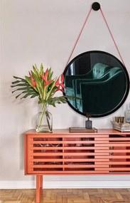 Espelho Redondo Decorativo Preto 67 cm Modelo Adnet Escandinavo