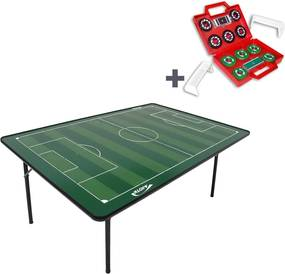 Mesa de Futebol de Botão Klopf 18 mm com Pés Dobráveis Verde Maleta de Futebol de Botão 2 Times