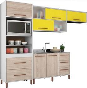 Cozinha Compacta Canela Branco e Bege e Amarelo Móveis Albatroz