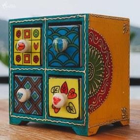 Caixa Decorativa Indiana c/ 4 Gavetas