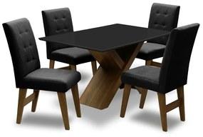 Conjunto Mesa de Jantar com 04 Cadeiras Agata 135cm Castanho/Preto/Preto - ADJ DECOR