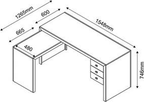 Mesa para Home Office com 03 Gavetas Tabaco -Tecno Mobili