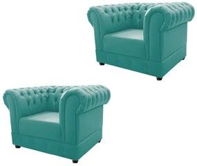 Kit 02 Poltronas Decorativas Chesterfield Ana Suede Azul Tiffany - ADJ Decor