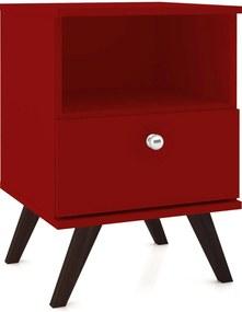 Mesa de Cabeceira C/1 Gaveta Móvel Bento Vermelho