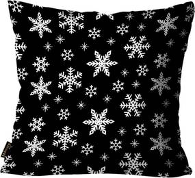 Capa para Almofada Mdecore Natal Flocos de Neve Preta 45x45cm