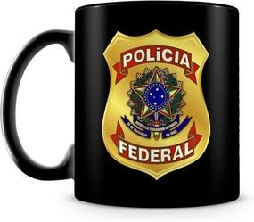Caneca Personalizada Polícia Federal 100% Preta (Com Nome)