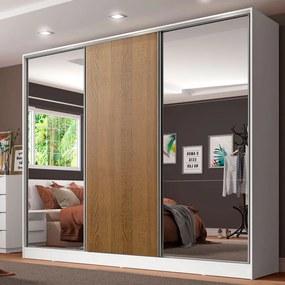 Guarda-Roupa Casal 100% MDF Madesa Royale 3 Portas de Correr com Espelhos Branco/Rustic Cor:Branco/Rustic